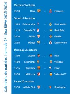 Calendario de partidos | Jornada 9ª | Liga BBVA | Temporada 2015-2016 | Del 23 al 26 de octubre de 2015