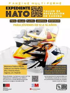 Expediente H.A.T.O. Taller de recreación en cadena | Taller de creación poética para jóvenes | Proyecto 'Genoma Poética' | Biblioteca Luis Martin-Santos | Villa de Vallecas - Madrid | Cartel