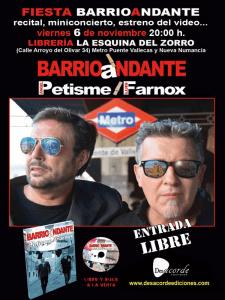 Fiesta BarrioAndante | Petisme y Farnox | Librería 'La Esquina del Zorro' | Puente de Vallecas - Madrid | 06-11-2015 | Cartel