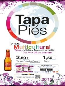 Tapapiés 2015 | 5ª Ruta Multicultural de la Tapa y la Música en Lavapiés | Del 15 al 25 de octubre de 2015 | Cartel
