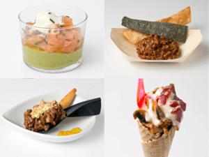 Tapapiés 2015 | Tartar con helado de wasabi de La Fantástica de Lavapiés, Mole con nachos de Ágave azul, Tartar sin fronteras de Taska Parrondo y Añoranza de verano de La Chulapa en Mayrit
