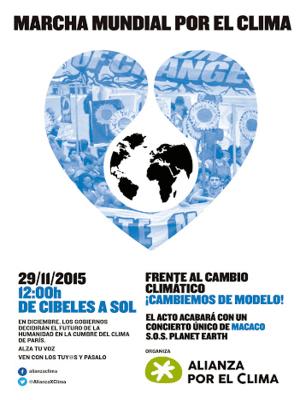 Marcha Mundial por el Clima   Madrid 29N   Plaza de Cibeles - Puerta del Sol   Madrid   29/11/2015   Plataforma 'Alianza por el Clima'   Cartel
