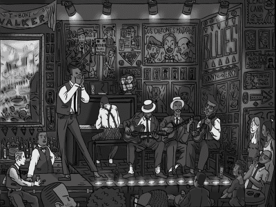 Noche de blues en un local estadounidense hacia 1920 | Dibujo: Víctor Romano/lanide.com