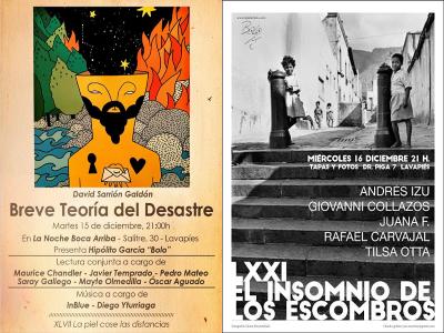 47 'La piel cose distancias' (15/12/2015) en La noche boca arriba y 71 'El imsonio de los escombros' (16/12/2015) en Tapas & Fotos | Carteles