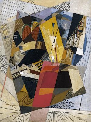 'En el puerto' (1917) de Albert Gleizes | Óleo y arena sobre cartón | 153 x 120 cm | Museo de Arte Thyssen-Bornemisza | Madrid