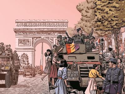 Desfile de 'La Nueve' en París | Ilustración de Paco Roca | Detalle
