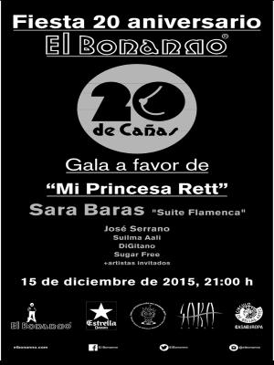 Fiesta 20 aniversario El Bonanno | #20deCañas | Gala a favor de 'Mi princesa Rett' | Círculo de Bellas Artes | 15/12/2015 | Cartel