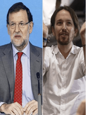 Mariano Rajoy, líder del PP, y Pablo Iglesias, líder de Podemos