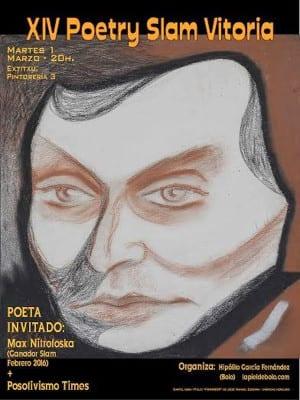 14 Poetry Slam Vitoria | 01/03/2016 | Extitxu, Pintorería 3, Vitoria | Cartel José Manuel Ezkerra