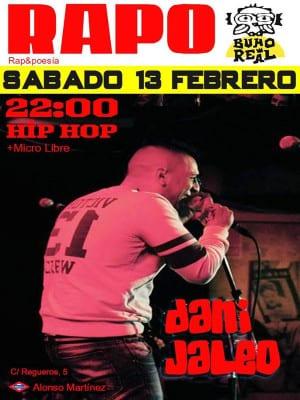 7º Festival RAPO Rap&Poesía | Sala Búho Real | Madrid | 13/02/2016 | 22:00 horas | Cartel José Naveiras