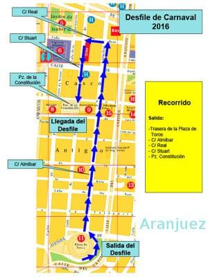 Carnaval 2016 | Aranjuez | Comunidad de Madrid | Plano Recorrido Desfile de Carnaval 2016