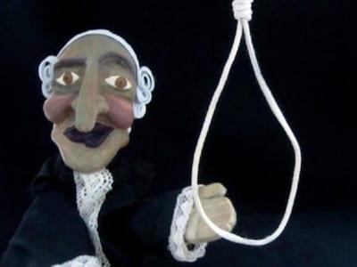 El juez y la horca   Escena de 'La bruja y don Cristobal'   Títeres desde abajo'   Compañía de guiñol de Granada