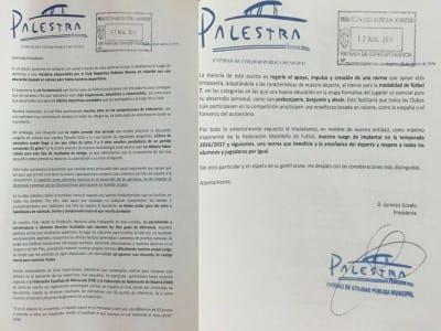 Carta del Club Deportivo Palestra Atenea a la Real Federación de Fútbol de Madrid (17/03/2016)