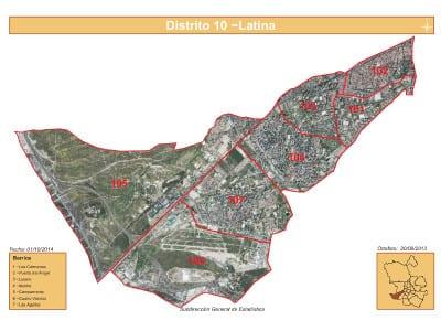 Plano 7 barrios distrito Latina (Madrid) | Satélite | Fuente Subdirección General de Estadística del Ayuntamiento de Madrid