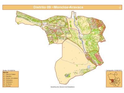 Plano 7 barrios distrito Moncloa - Aravaca (Madrid) | Fuente Subdirección General de Estadística del Ayuntamiento de Madrid