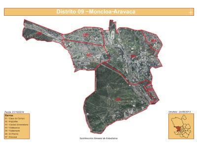 Plano 7 barrios distrito Moncloa - Aravaca (Madrid) | Satélite | Fuente Subdirección General de Estadística del Ayuntamiento de Madrid