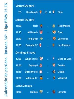 Calendario de partidos | Jornada 36ª | Liga BBVA | Temporada 2015-2016 | Del 29 de abril al 2 de mayo de 2016