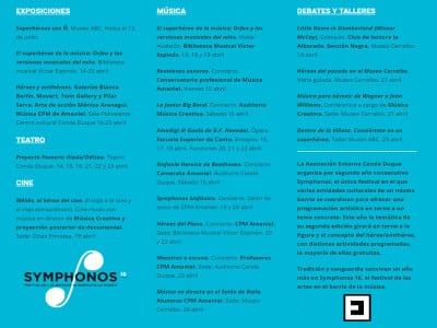 Symphonos 16 | Héroes y antihéroes | Festival de las artes en el Barrio de la Música | 14-23/04/2016 | Entorno Conde Duque | Madrid | Programa