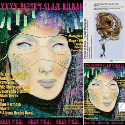 35º Poetry Slam Bilbao | 4º Poetas en Mayo - Poetak Maiatzean | 16º Poetry Slam Vitoria | Mayo 2016 | Carteles