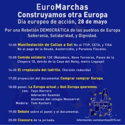 EuroMarchas | Construyamos otra Europa | Día Europeo de Acción | Por una Rebelión Democrática de los Pueblos de Europa: Soberanía, Dignidad y Solidaridad | 28/05/2016 | Programa Madrid