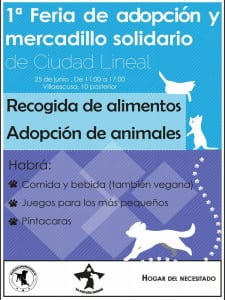 1ª Feria de Adopción y Mercadillo Solidario de Ciudad Lineal | Madrid 25 de junio de 2016 | Cartel