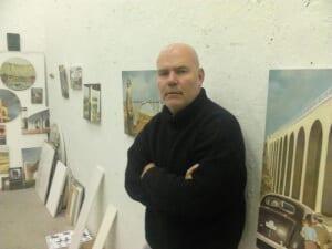 Damián Flores Llanos en su estudio de Madrid (2013)