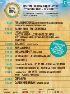 Festival Cultura Inquieta 2016 | Polideportivo San Isidro - Espacio Mercado | Getafe | Comunidad de Madrid | Del 30 de junio al 22 de julio de 2016 | Cartel Conciertos