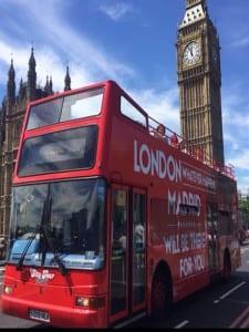 'London, whatever happens, Madrid will be there for you' | Campaña de marketing de la Comunidad de Madrid en Londres | Julio 2016 | Bus con Big Ben y abadía de Westminster