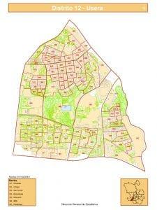 Plano de los 7 barrios del distrito de Usera de Madrid | Fuente DGE del Ayuntamiento de Madrid