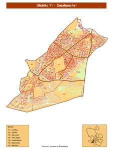 Plano Distrito de Carabanchel (Madri) | Fuente DGE Ayuntamiento de Madrid