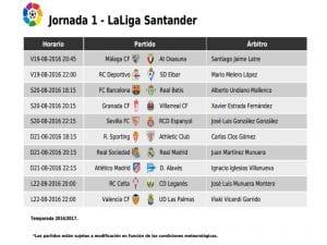 Calendario de partidos | Jornada 1ª | LaLiga Santander | 19, 20, 21 y 22/08/2016