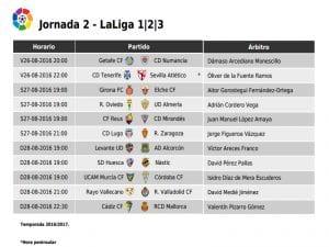 Calendario de partidos | Jornada 2ª-| LaLiga 1|2|3 | 26-27-28/08/2016