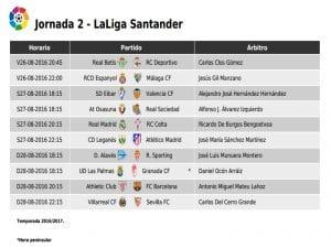 Calendario de partidos | Jornada 2ª-| LaLiga Santander | 26-27-28/08/2016