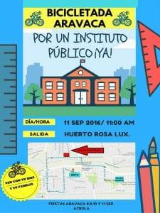 Fiestas de Aravaca 2016 | Moncloa-Aravaca | Madrid | 8 al 11 de septiembre de 2016 | Bicicletada por un instituto público ¡ya!