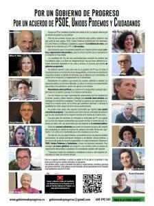 Manifiesto por un Gobierno de Progreso | Por un acuerdo de PSOE, Unidos Podemos y Ciudadanos | Página de El País del martes 30 de julio de 2016