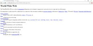 The Project | World Wide Web | Primera página web del planeta | 1991 | Pantallazo