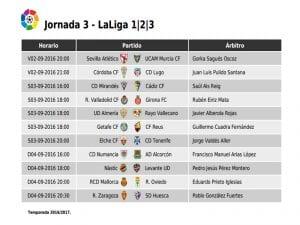 Calendario de partidos | Jornada 2ª | LaLiga 1|2|3 | 02, 03 y 04/09/2016