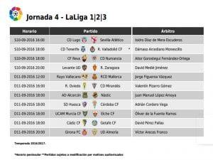 Calendario de partidos | Jornada 4ª | LaLiga 1|2|3 | 10 y 11/09/2016