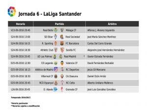 Calendario de partidos | Jornada 6ª | LaLiga Santander | 23 al 26/09/2016