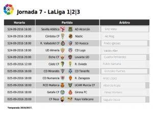 Calendario de partidos | Jornada 7ª | LaLiga 1|2|3 | 24 y 25/09/2016