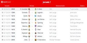 Calendario de partidos | Jornada 7ª | LaLiga Santander | 30/09 al 02/10/2016