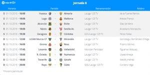 Calendario de partidos | Jornada 8ª | LaLiga 1|2|3 | 01 y 02/10/2016