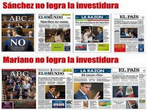 Titulares opuestos para un hecho similar en las portadas de los principales diarios de la 'prensa libre' de España