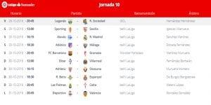 Calendario de partidos   Jornada 10ª   LaLiga Santander   28 al 31/10/2016