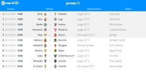 Calendario de partidos | Jornada 11ª | LaLiga 1|2|3 | 21 y 23/10/2016
