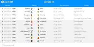 Calendario de partidos   Jornada 12ª   LaLiga 1 2 3   29 y 30/10/2016