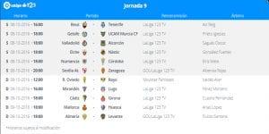 Calendario de partidos | Jornada 9ª | LaLiga 1|2|3 | 08 y 09/10/2016