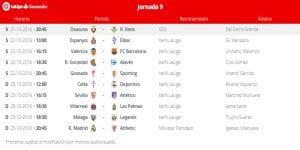 Calendario de partidos | Jornada 9ª | LaLiga Santander | 21 al 23/10/2016
