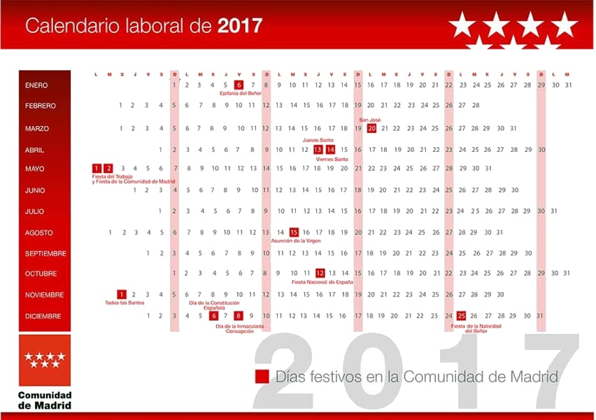 Calendario laboral festivos 2017 comunidad de madrid for Festivos asturias 2017