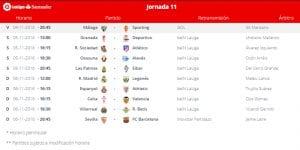 Calendario de partidos | Jornada 11ª | LaLiga Santander | 04 al 06/11/2016
